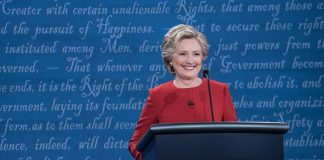 hrc at debate smiles
