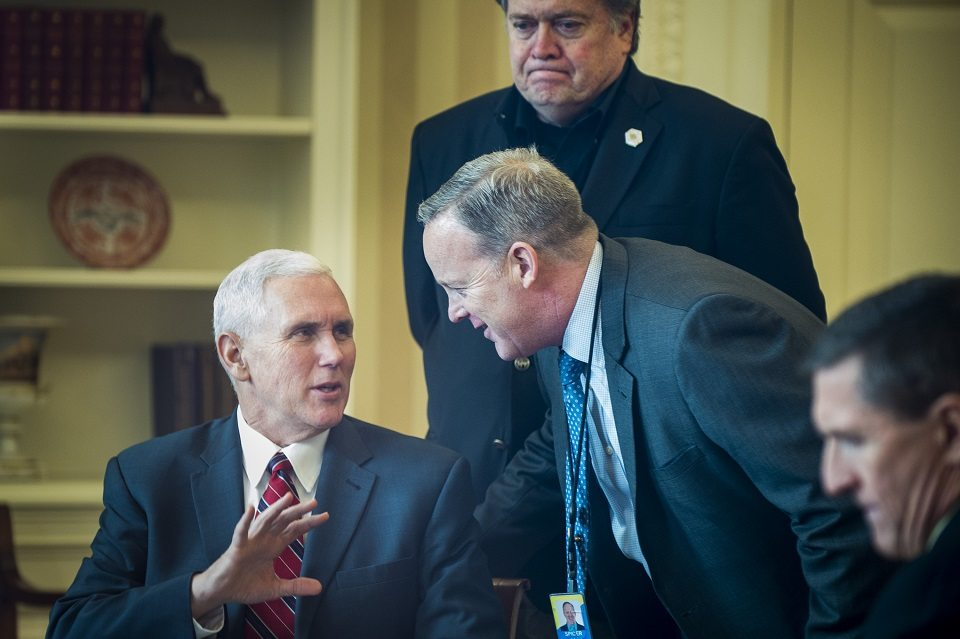 """While Pence poses for cameras with U.S. allies, """"President Bannon"""" meets in private to destroy them"""