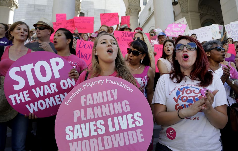 Protesters support abortion rights.