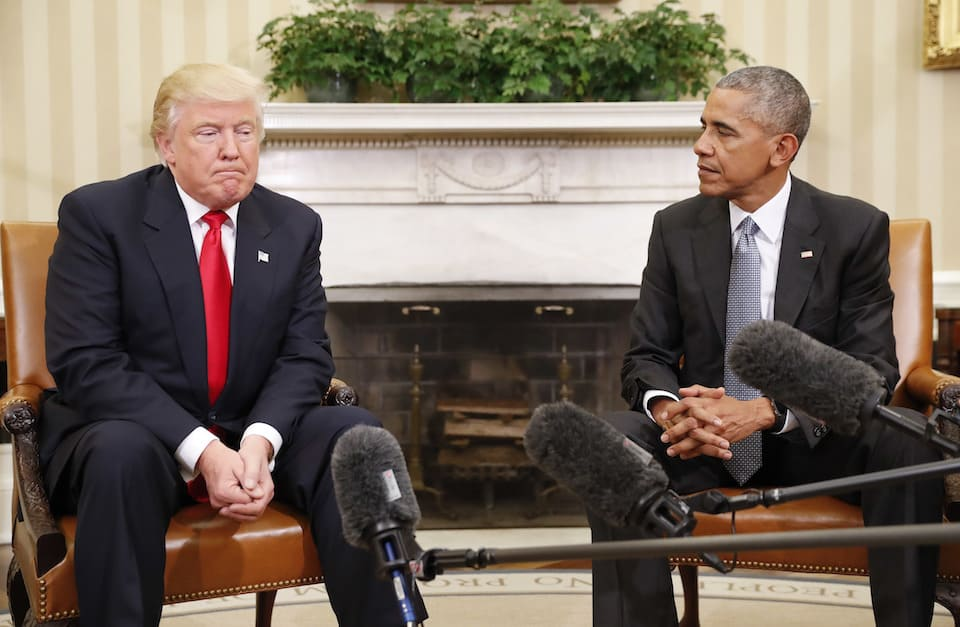 Donald Trump and President Barack Obama