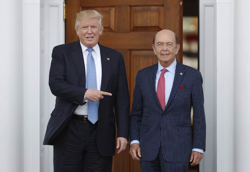 Trump with Commerce Secretary Wilbur Ross
