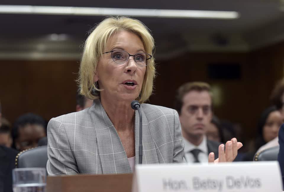 DeVos hedges on banning discrimination against LGBT students