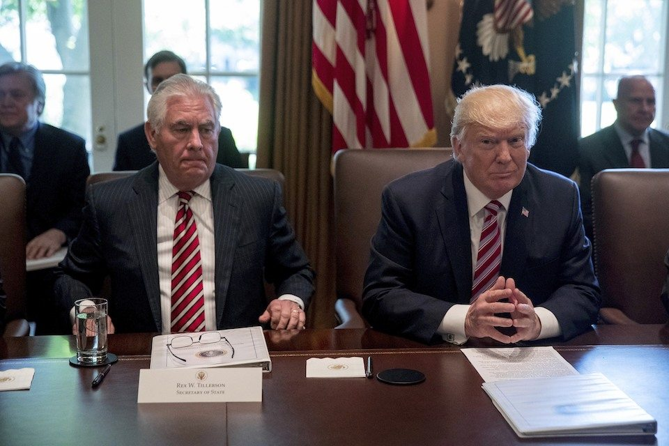 Secretary of State Rex Tillerson with Donald Trump