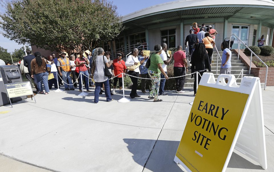 Voters line up during early voting at Chavis Community Center in Raleigh, N.C. in 2016