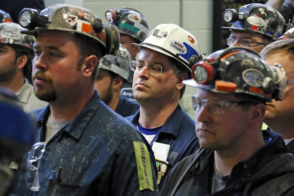 Coal miners at Consol Pennsylvania Coal Company's Harvey Mine in Sycamore, PA