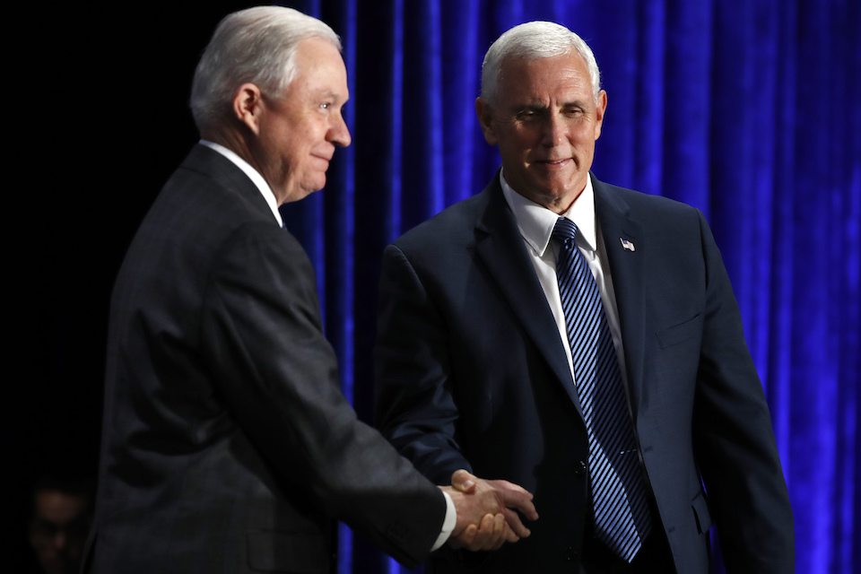 Jeff Sessions and Mike Pence don't want any of those darn Democrats mucking up their voter suppression fun