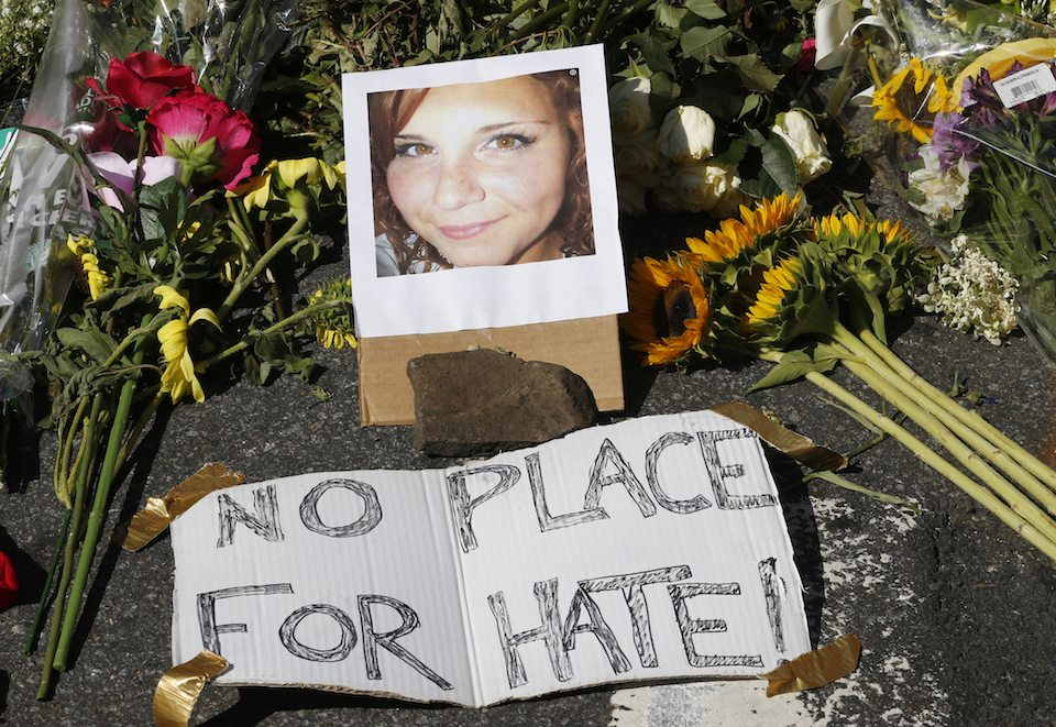A memorial for Heather Heyer, who was killed by a white supremacist at the neo-Nazi riot in Virginia