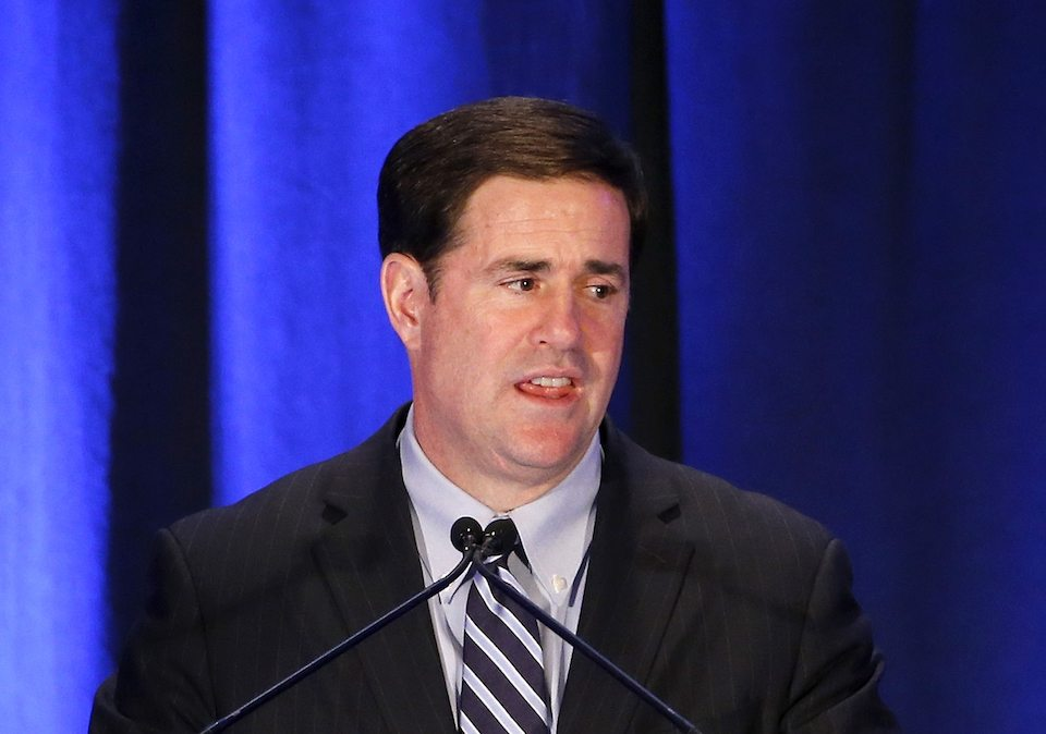 Arizona Republican Gov. Doug Ducey is not enthused about being seen with Donald Trump.