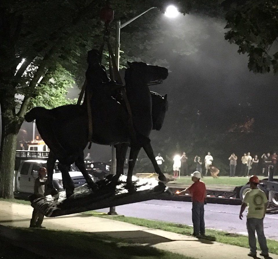 Baltimore takes down Confederate statues in middle of night