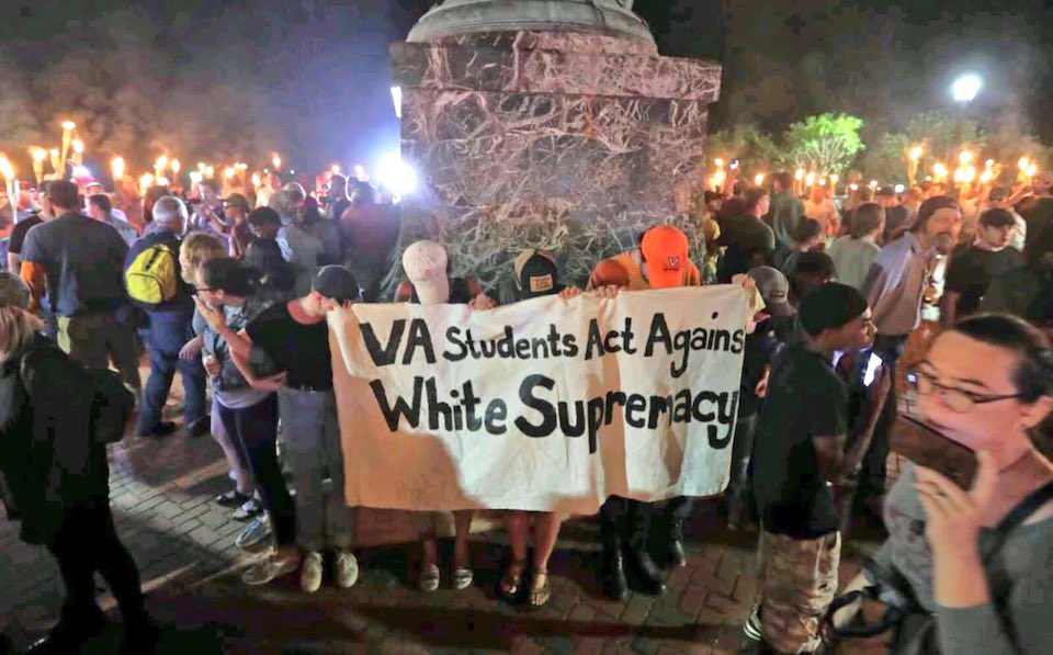 Students from the University of Virginia stage a counter-protest against a white supremacist rally