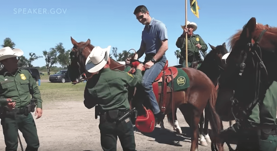 Yes, that's Speaker Paul Ryan on a horse to push for his new legislative agenda