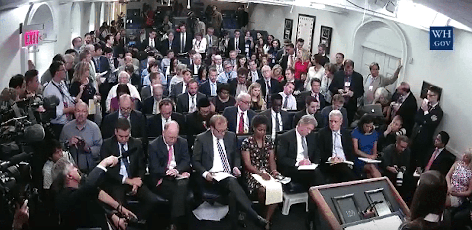 The press briefing where not a single reporter asked about Trump's racist rants on Charlottesville
