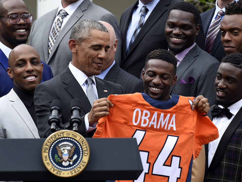 President Barack Obama with the Denver Broncos