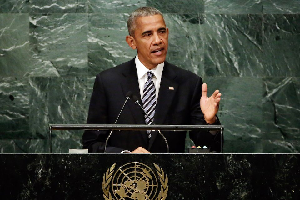 President Barack Obama addresses the 71st session of the United Nations General Assembly in 2016.
