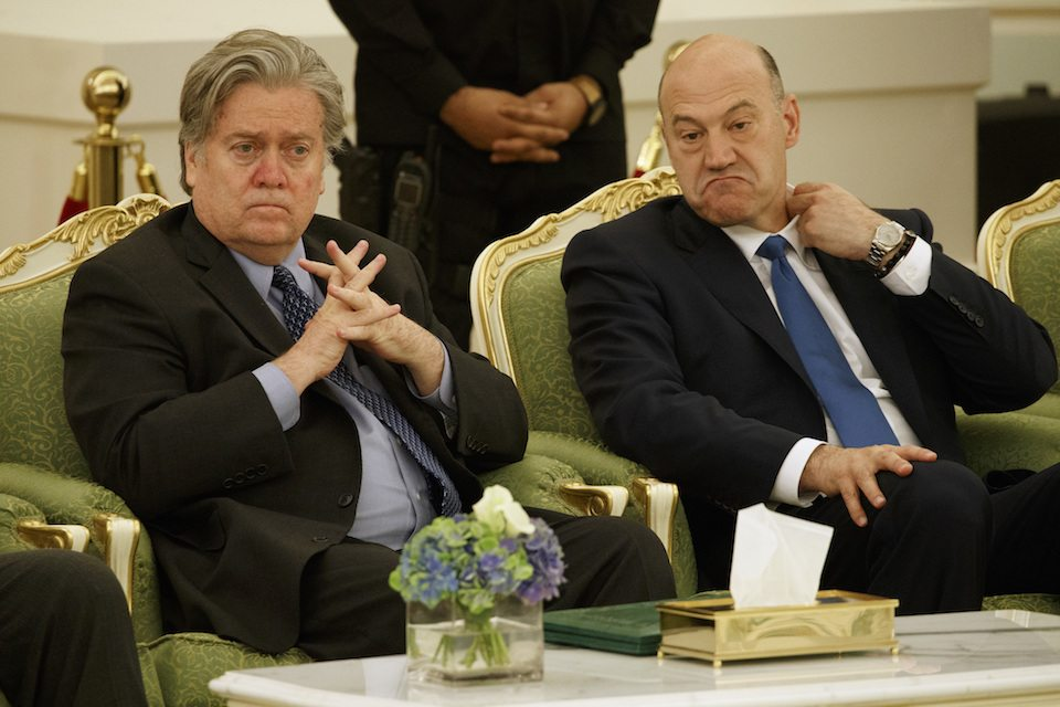 "Steve Bannon (L) and Trump economic adviser Gary Cohn (R) are not what you would call ""friends"""
