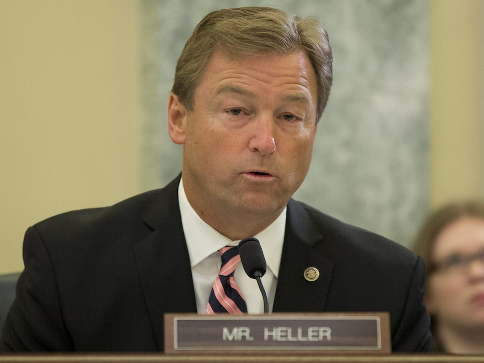 Nevada's Republican senator, Dean Heller, is in a world of trouble back home