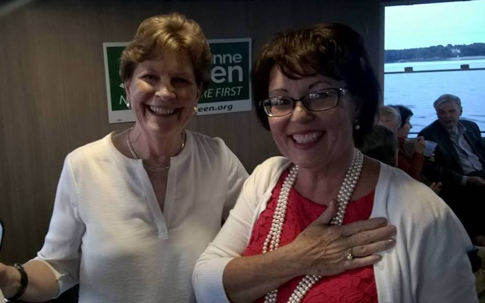 Kari Lerner poses with her hero, New Hampshire Sen. Jeanne Shaheen