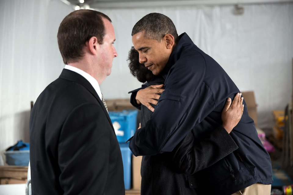 President Obama comforts survivors of Hurricane Sandy in 2012