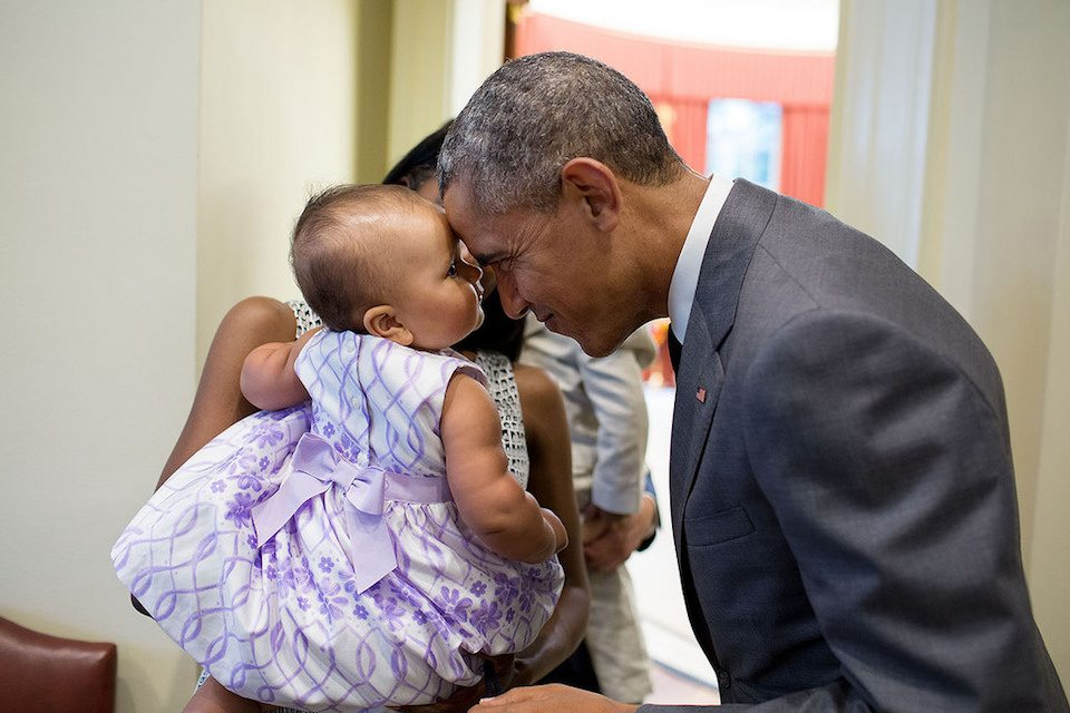 President Obama adorably greets nine-month-old Josephine Gronniger in the White House
