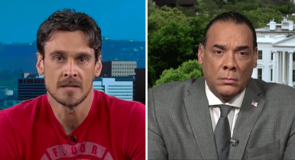 (L) Former NFL player Chris Kluwe; (R) Bruce LeVell, head of Trump's