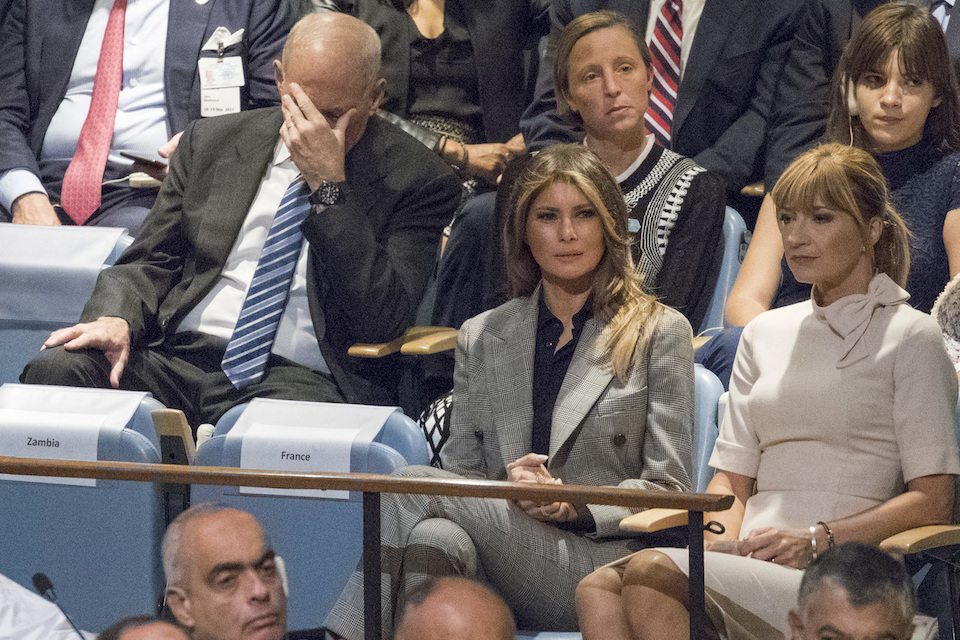 White House chief of staff John Kelly, surrounded by world leaders, reacts as his boss goes off script.