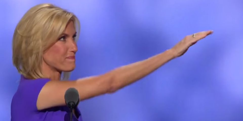 Conservative talking head Laura Ingraham salutes Trump at Republican National Convention in 2016