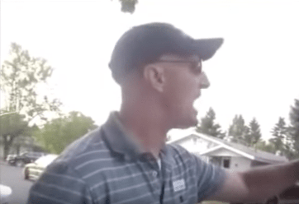 Idaho state Sen. Dan Foreman screams insults at a constituent