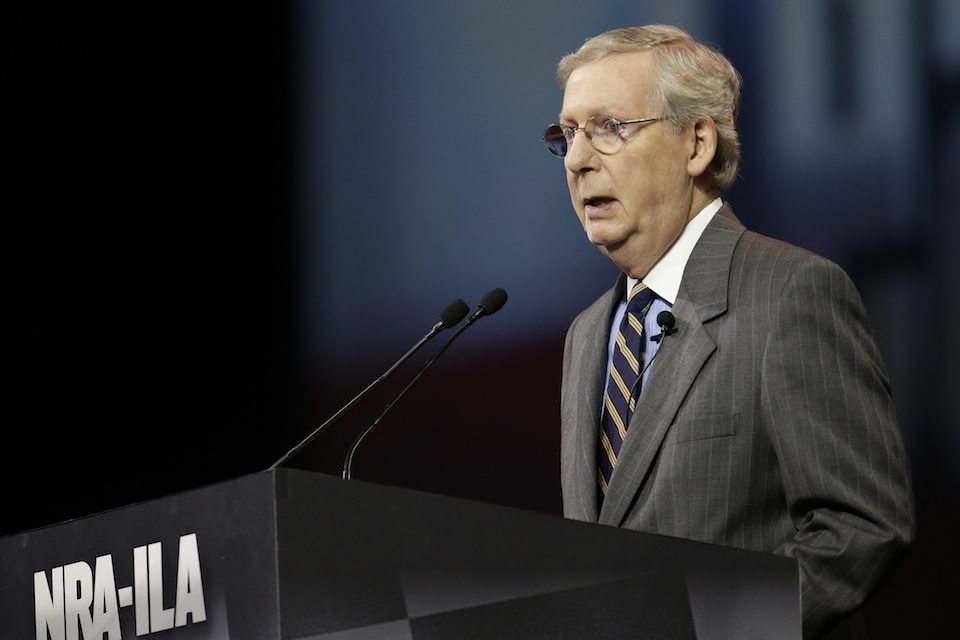 Senate Minority Leader Mitch McConnell, speaking to the National Rifle Association's annual convention