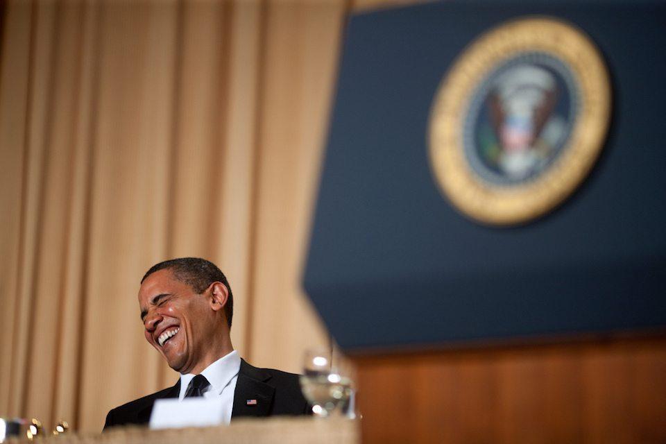 Obama laughing