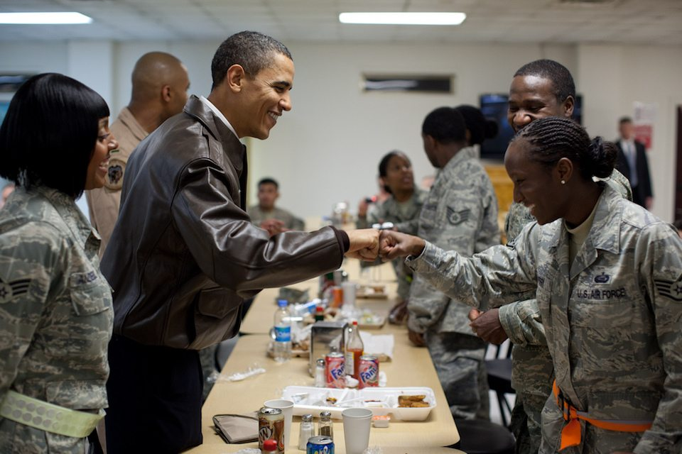 Obama with troops