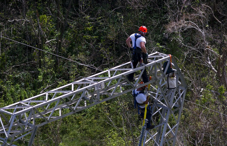 Whitefish Energy workers work on power line towers in Puerto Rico