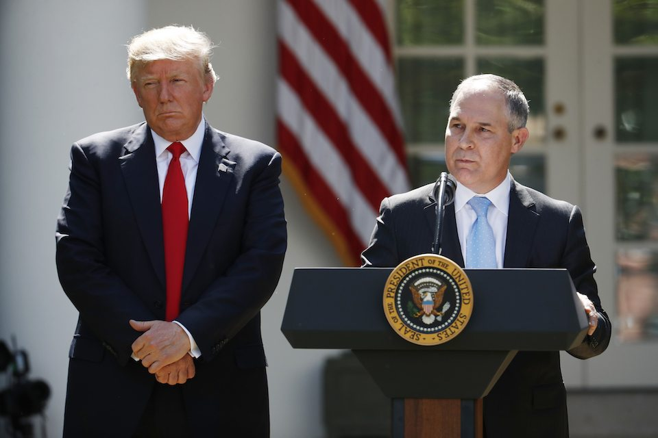 Donald Trump and his Environmental Protection Agency head Scott Pruitt