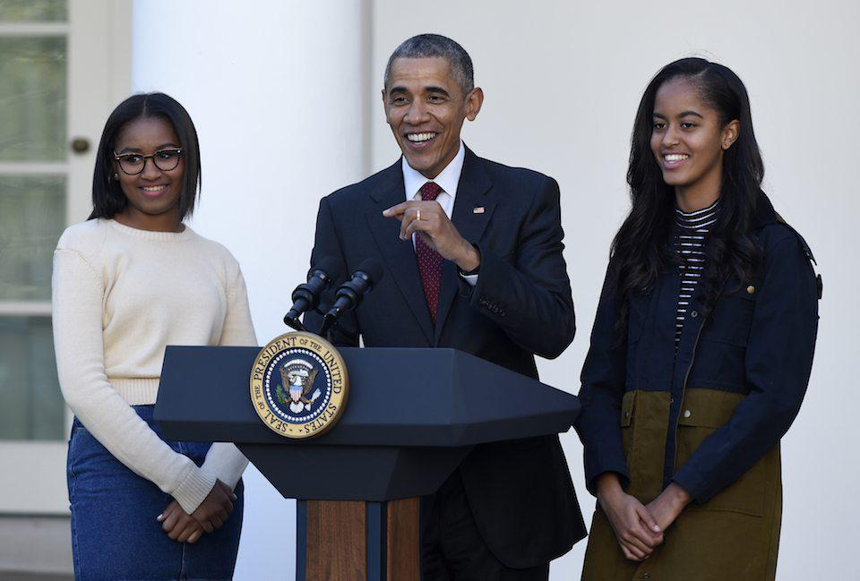 Sasha, Barack, and Malia Obama