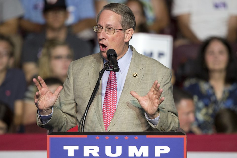 Congressman Bob Goodlatte, R-Va., gestures during a rally for Republican presidential candidate Donald Trump in Roanoke, Virginia
