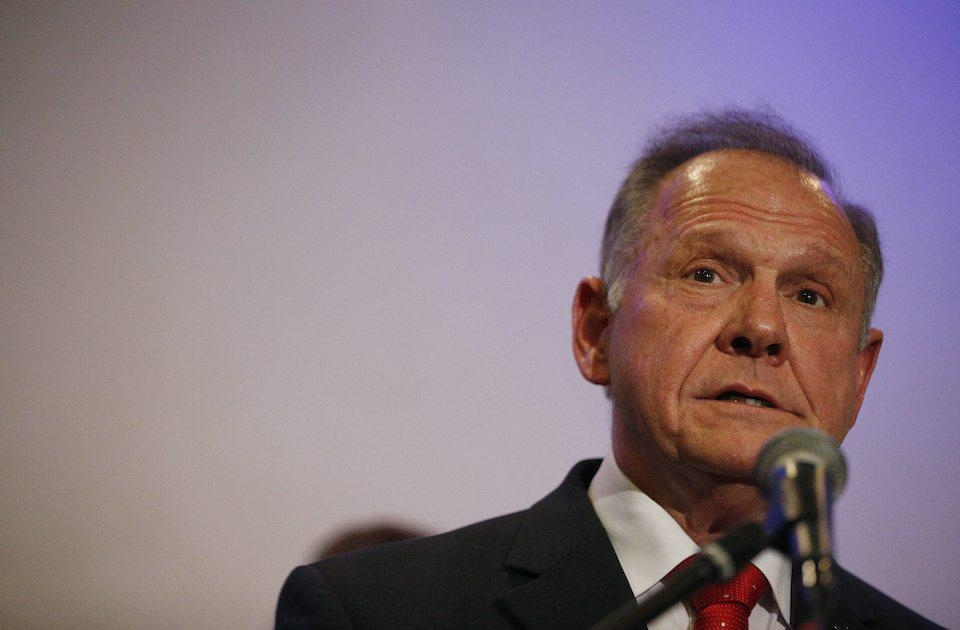 Former Alabama Chief Justice and U.S. Senate candidate Roy Moore speaks at a press conference