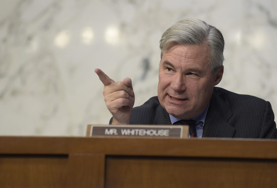 Senate Judiciary Committee member Sen. Sheldon Whitehouse, D-R.I. questions Supreme Court Justice nominee Neil Gorsuch on Capitol Hill in Washington, Wednesday, March 22, 2017, during Gorsuch's confirmation hearing before committee.