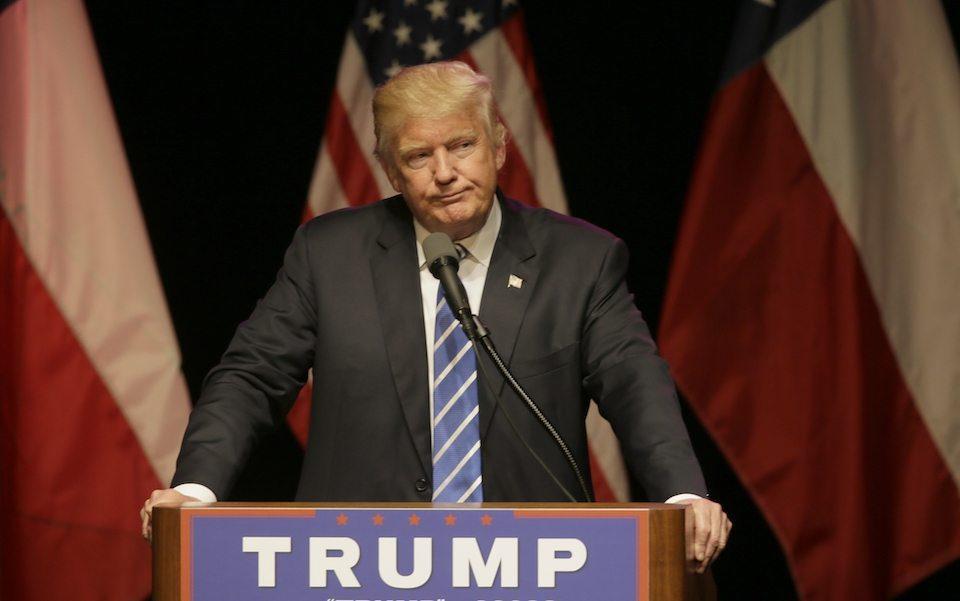 Donald Trump at a rally in Dallas