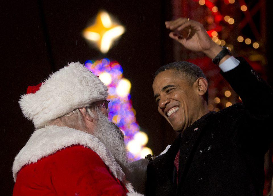 President Barack Obama and Santa Claus
