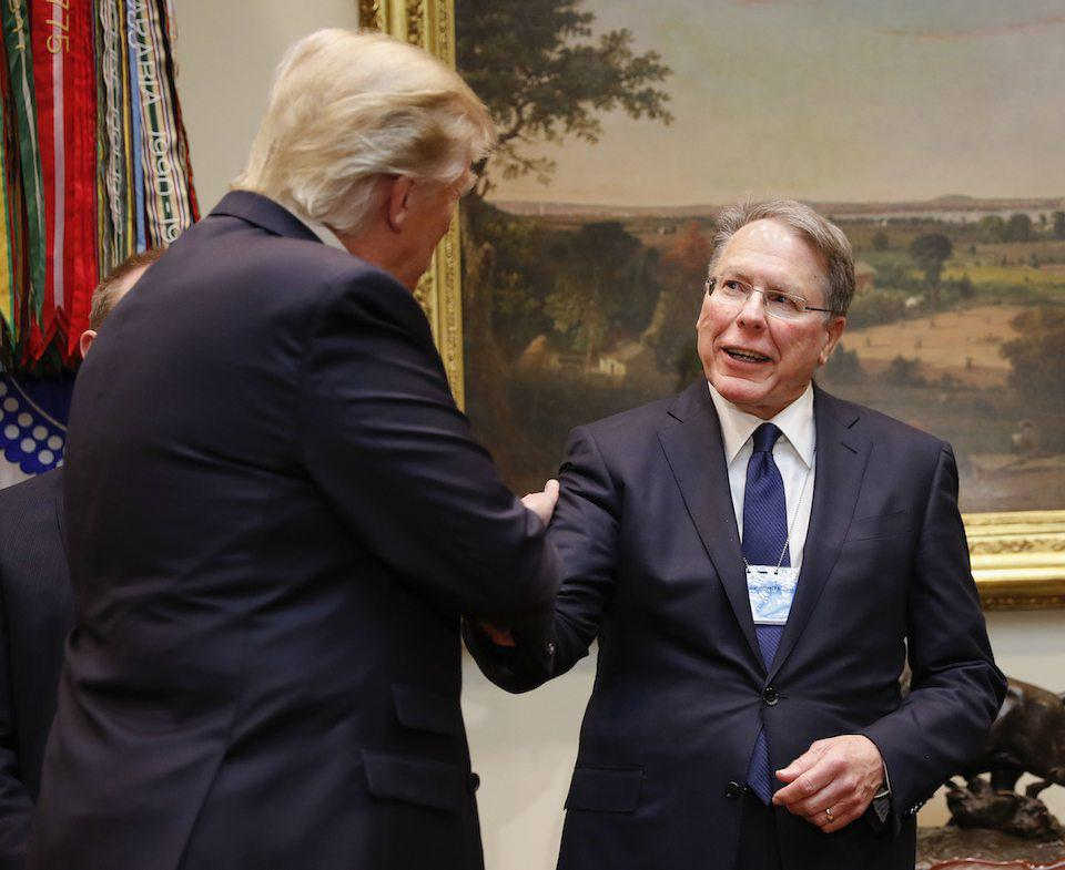 Trump shakes hands with NRA head Wayne LaPierre