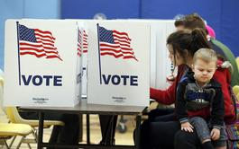 Voters at a polling place