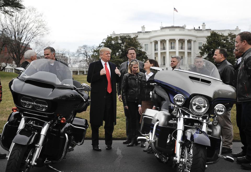 Donald Trump meets with Harley Davidson executives and union representatives on the South Lawn of the White House in January