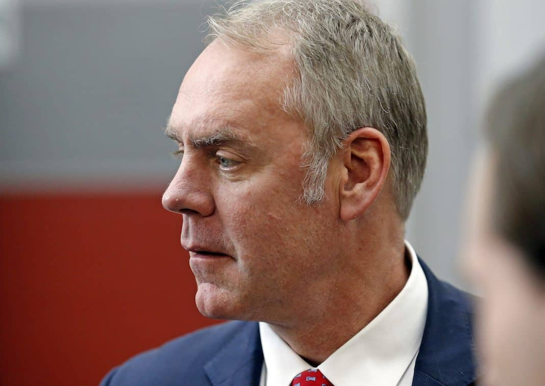 U.S. Interior Secretary Ryan Zinke walks through the Western Conservation and Hunting Expo Friday, Feb. 9, 2018, in Salt Lake City. Zinke is in Utah Friday to make an conservation announcement at the expo.