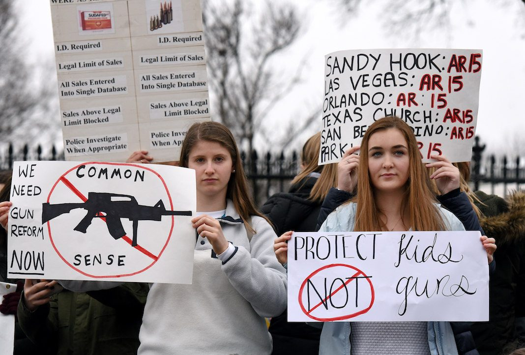 Students protest against gun violence outside of the White House just days after 17 people were killed in a shooting at a south Florida high school , February 19, 2018, in Washington, DC .