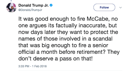 Donald Trump Jr tweet 2-1-18