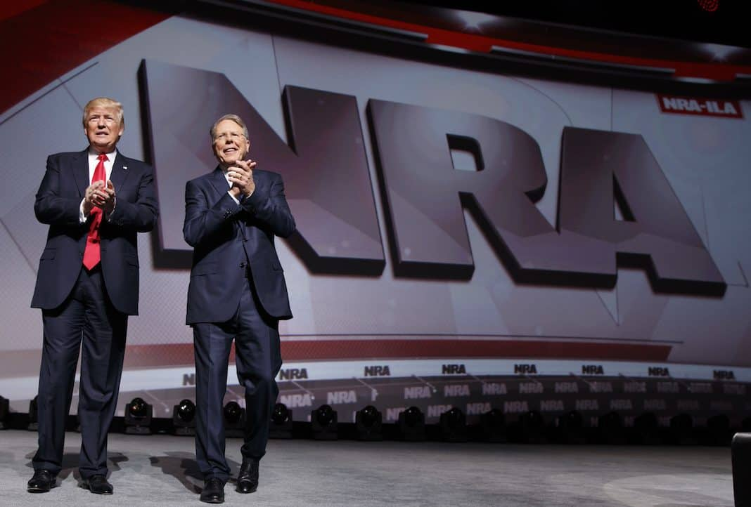 Trump stands with National Rifle Association Executive Vice President Wayne LaPierre
