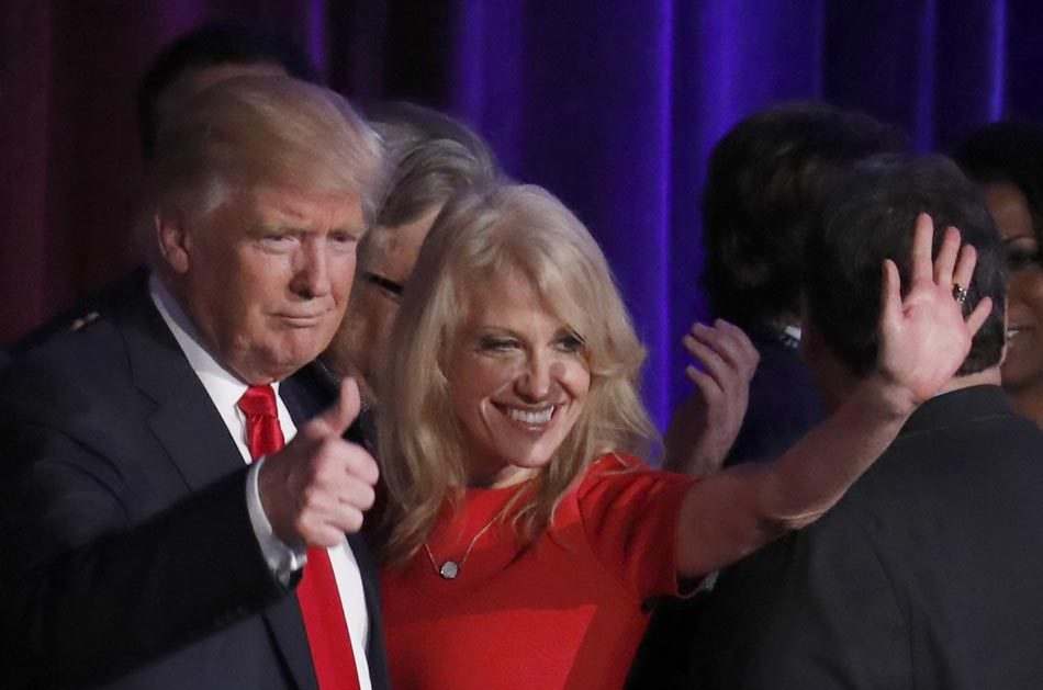 Donald Trump and Kellyanne Conway wave
