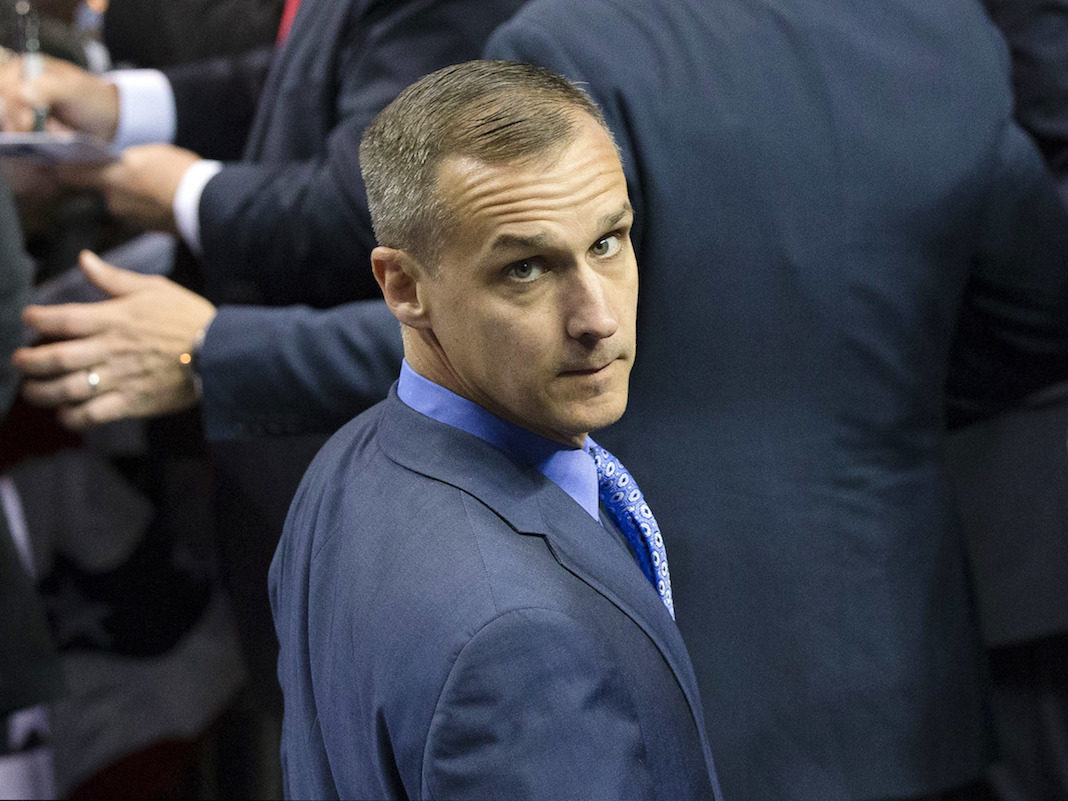 FILE - In this April 18, 2016 file photo, Corey Lewandowski, campaign manager for Republican presidential candidate Donald Trump, appears at a campaign stop at the First Niagara Center in Buffalo, N.Y. Lewandowski, President Donald Trump's former campaign manager has filed a $5 million lawsuit against his New Hampshire neighbors over access to a pond-front property, Friday, July 21, 2017.