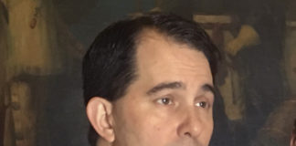 "Wisconsin Gov. Scott Walker speaking to reporters, expresses confidence that his top priorities, including an overhaul of the juvenile justice system, will pass this session but he's not as enthusiastic about creating a new ""alcohol czar"" Wednesday, Feb. 14, 2018, in Madison, Wisc."