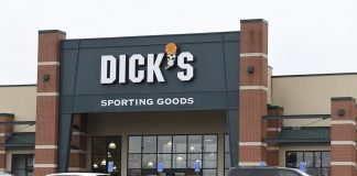 Outside view of a Dick's Sporting Goods store in Arlington, Virginia , March 1, 2018.