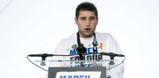 "Alex Wind, a survivor of the mass shooting at Marjory Stoneman Douglas High School in Parkland, FL, speaks during the ""March for Our Lives"" rally"